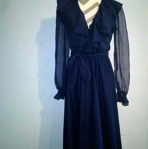 Vintage 1970's Belted Sheer Sleeve Maxi Dress